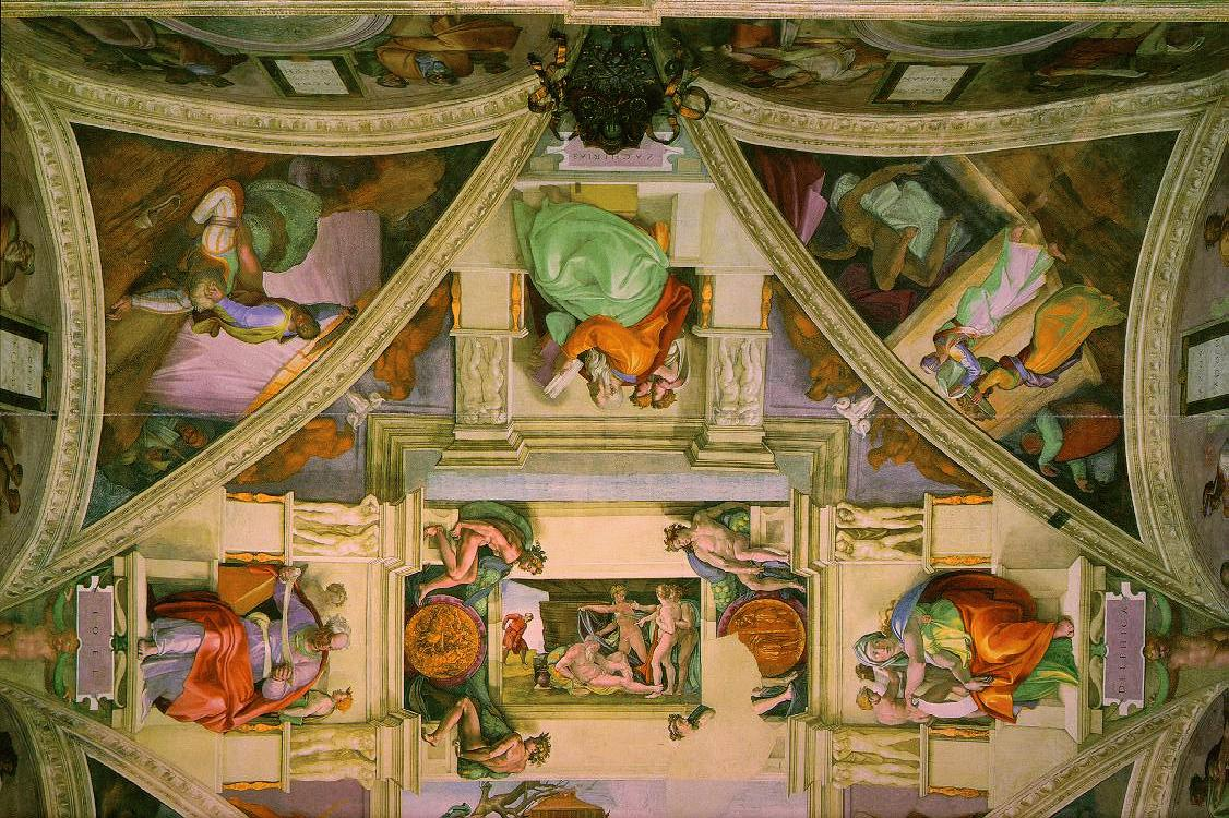 Michelangelo Sistine Chapel Ceiling - Detail From the Famous Painting