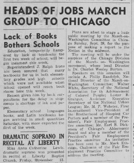 "Newspaper article, headlined ""Heads of Jos March Group to Chicago"""