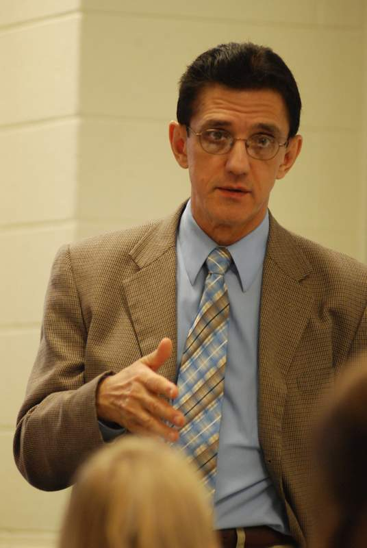 Prof. Raley in classroom