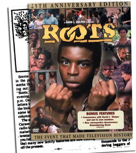 newspaper clipping and Roots promotional material